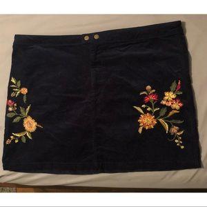 Corduroy floral skirt